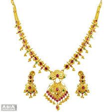 gold necklace with stones images 22k precious stone necklace set ajns55781 22k gold necklace jpg