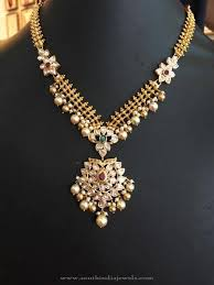 gold stone necklace images 22k gold stone necklace with pearls pinterest pearl necklace jpg