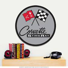 chevy corvette stingray racing flags steel sign chevrolet gm