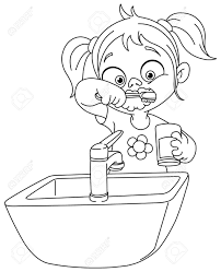 coloring page cartoon teeth toothbrush and dental floss stock