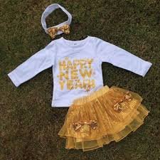 new year baby clothes baby clothes sleeve happy new year top design gold sequin
