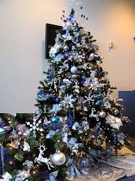 blue and silver themed tree trees
