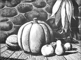 how to draw an autumn still harvest for thanksgiving and