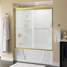 brass frosted bathtub doors shower doors the home depot