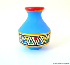 indian imports home decor vase pottery terracotta home decor indian handicraft blue