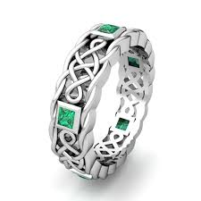 celtic knot wedding bands princess cut emerald ring in platinum celtic knot wedding band