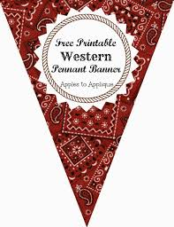 apples to applique western party pennant banner free printables