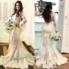 affordable wedding dress stylish mermaid v neck wedding dresses 2017 bohemia lace applique