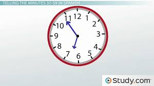 telling the minutes 31 59 time in spanish video u0026 lesson