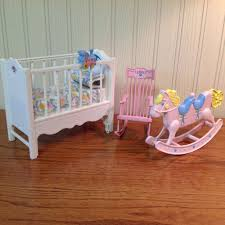 vintage barbie heart family rock u0027n play musical nursery crib set