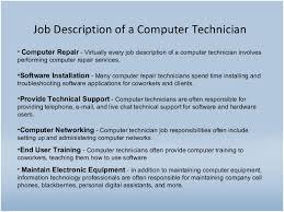 computer technician job description resume sample computer