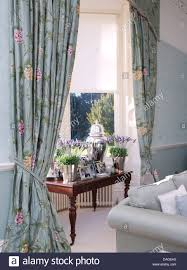 Blue Floral Curtains Pots Of Lavender On Table In Window With Pale Blue Floral Curtains