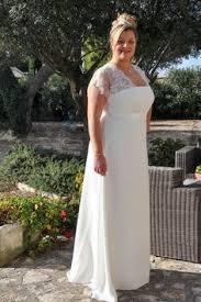 robe de mariã e ronde robe de mariée grande taille simple vintage empire encolure en v