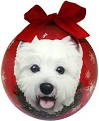 westie sleigh ornament home kitchen