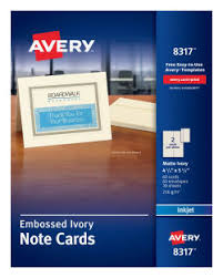 embossed note cards avery note cards 4 1 4 x 5 1 2 60 cards 8317 avery