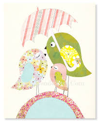 Nursery Bird Decor The Pink Bird Family Personalized 8x10 Nursery Print Baby