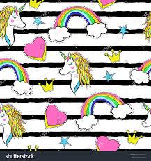 seamless pattern trendy cartoon patches unicorns stock vector