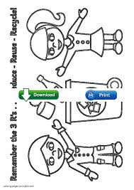 reduce reuse recycle coloring pages for kids