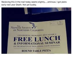 free round table pizza recieving this in the mail today seems slightlyminous i got plans