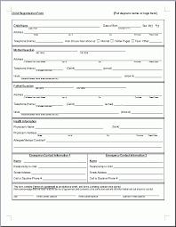Registration Form Template Excel Preschool Registration Form Template Teaching Ideas