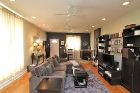 sloped ceiling recessed lighting for elegant living room with