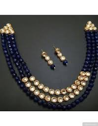 blue beads necklace images 3 layer royal blue beads kundan necklace set jpg
