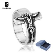 cross rings images Woolegogo vintage stainless steel jesus cross ring men punk biker jpg