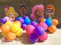 bubble guppies centerpiece wood handcrafted with balloons for