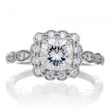 moissanite vintage engagement rings cushion moissanite engagement ring vintage scallop halo 6x6