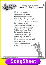 printable lyrics the star spangled banner song and lyrics from kididdles