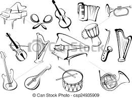 vector of set of musical instruments in retro style isolated on
