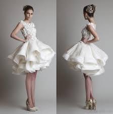 krikor jabotian short lace wedding dresses 2017 bateau cap sleeves