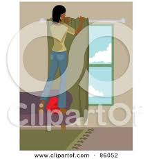 Free Standing Drapes Royalty Free Rf Clipart Illustration Of A Caucasian Woman