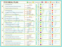 Beast Meal Plan Spreadsheet Piyo Meals And Recipes Check Out My Week 1 Meal Plan