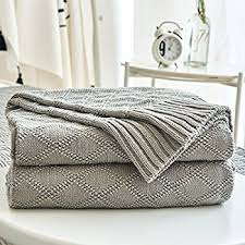 amazon com knitted throw blanket for sofa and couch lightweight