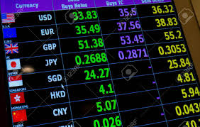 Exchange Rate Currency Exchange Rate On Digital Led Display Board Stock Photo