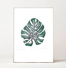 monstera leaf print linocut plant print tropical leaves wall
