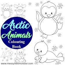 arctic animal colouring pages messy monster