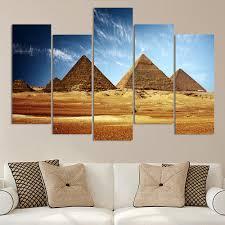 5 piece set canvas art three egyptian pyramids under blue sky
