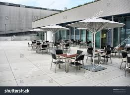 modern architecture fashionable outdoor cafe restaurant stock