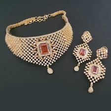 diamond necklace sets images Shop blue diamond brass american diamond necklace set jpg