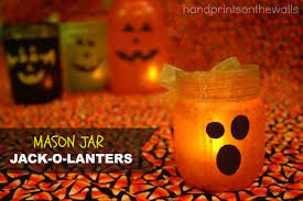 Mason Jar Halloween Lantern Handprints On The Walls Mason Jar Jack O Lanterns