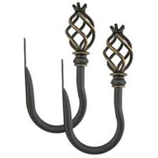 shop allen roth 2 pack aged bronze steel curtain holdbacks at