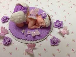 baby shower edible fairy cake topper in purple and white