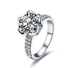 lotus flower engagement ring aliexpress buy fancy 3ct lotus flower synthetic diamonds