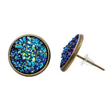 druzy stud earrings blue druzy stud earrings imitation