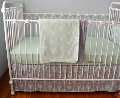 Deer Nursery Bedding Mint And Grey Deer Crib Bedding Set 3 Pieces U2013 Soren By Angelique