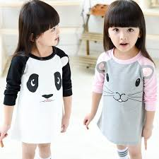 18m 5t kids dresses for girls long sleeve animal panda mouse