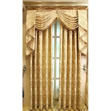 Floral Jacquard Curtains Gold Floral Jacquard Polyester Luxury Custom Valance Curtains