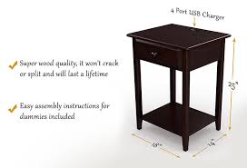 nightstand l with usb port stony edge night stand end accent table with usb port espresso